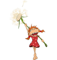 The girl and a dandelion vector image vector image