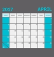 April 2017 calendar week starts on Sunday vector image