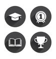 Graduation icons Education book symbol vector image