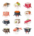 Sushi characters set vector image