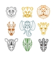 African Animals Heads Masks Line Icons vector image