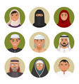 arabic men and women of all ages portraits in vector image