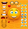 cartoon yellow 3d smiley face character vector image