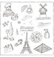 Hand drawn doodle France symbols set vector image