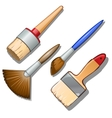 Set of four different brushes for painting vector image