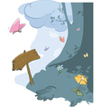 Wood landscape and butterflies vector image vector image