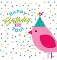 happy birthday celebration card with bird vector image