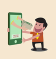 Business man receiving money over mobile internet vector image