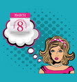 happy international womens day woman pop art card vector image
