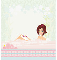 Young woman shaving her legs in bath vector image