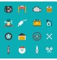 Auto Service Icons Flat set vector image