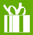 gift box with ribbon icon green vector image