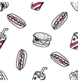 Seamless pattern with doodle fast food vector image
