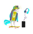 set of unicorn skater headphones and smartphone vector image