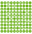 100 yoga studio icons hexagon green vector image