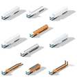 Trucks with semitrailers detailed isometric icon vector image