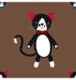 Black Cat with Ribbon Full Body on Brown vector image