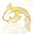Ink hand drawn golden koi fish vector image