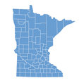State map of Minnesota by counties vector image