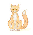 hand drawn printable of colorful cute sitting fox vector image