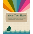 retro summer image with rainbow and sea vector image