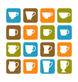Set of flat mugs on a colored background vector image