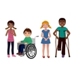 Special needs children sad set vector image