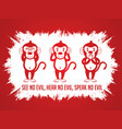 three monkeys see hear speak vector image