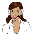 Dispatcher The image of the smiling african woman vector image