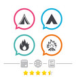 tourist camping tent signs fire flame icons vector image