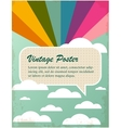 vintage poster with rainbow and clouds vector image