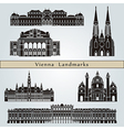 Vienna landmarks and monuments vector image vector image