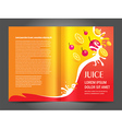 brochure folder juice fruit drops liquid orange vector image vector image