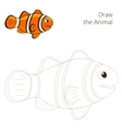Draw the fish animal clownfish educational game vector image