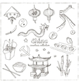 Hand drawn doodle China symbols set vector image
