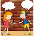 Kids playing rock scissors paper vector image