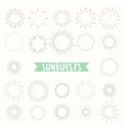 Hand drawn set of retro sunbursts vector image
