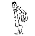businessman standing with briefcase in gloves vector image