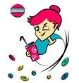 Cartoon nice girl with vitamin cocktail vector image