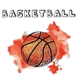 Doodle basketball on watercolor background vector image
