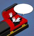 Dracula in coffin pop art style Bubble for text vector image