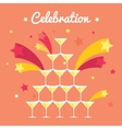 Pile of champagne glasses Celebration with vector image