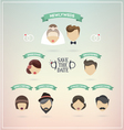 Retro set of wedding icons vector image
