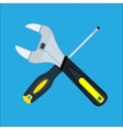 Screwdriver and Wrench crossed vector image