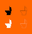 toilet bowl black and white set icon vector image