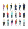 neatly people standing flat design large vector image vector image
