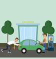 a man pushes a car at the gas station vector image