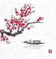 oriental sakura cherry tree in blossom and fishing vector image