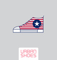 Stylized sneakers with American flag colors and vector image