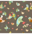 Seamless background with colorful birds vector image
